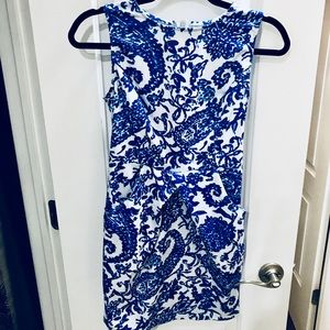 XS Blue and White Printed Dress